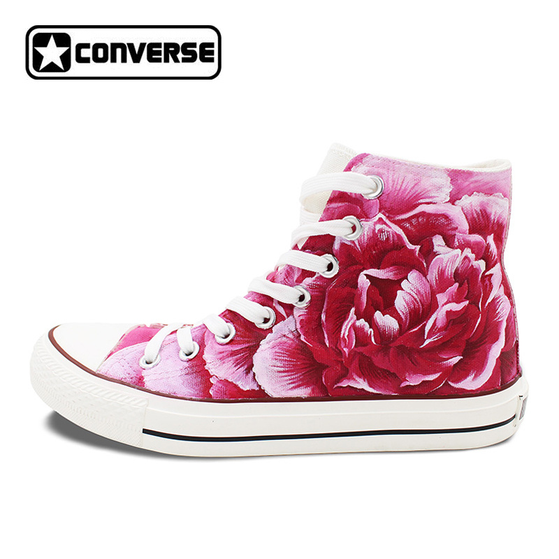 Mother s Day Pink Converse All Star Sneakers Women Men Shoes Dianthus  Caryophyllus Floral Original Design Hand 2a6b6a5a407e