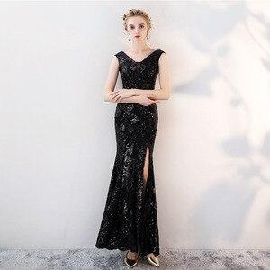 Image 2 - Cổ điển V Cổ Evening Dresses Tầng Length Vàng Evening Dresses Đảng Bạc Sequins Mermaid Phong Cách Front Chia Evening Gowns