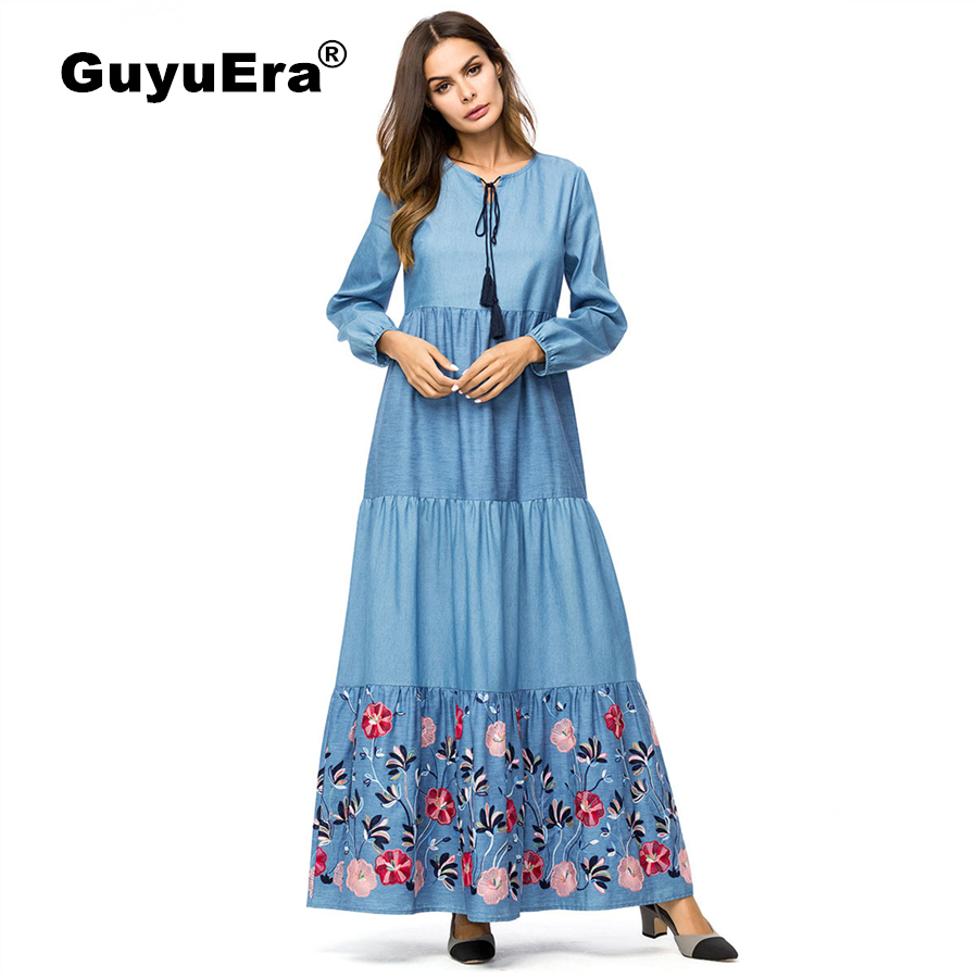 GuyuEra nouvelle robe Dashiki africaine jupe motif brodé grande taille femmes nouvelle Slim grand pendule broderie robe en Denim