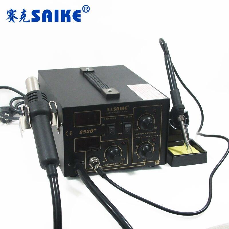 SAIKE 852D + паяльная станция с горячим воздухом, воздушный насос SMD, паяльная станция, демонтажная станция 220 В