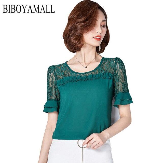 e2c9d2a86c4f3 Biboyamall mujeres blusa moda 2017 verano blusa gasa más tamaño manga corta  casual Encaje camisa Tops
