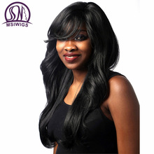 MSIWIGS Synthetic Hair Long Wavy Black Parykar med Bangs American Afro Women Hair Paryk