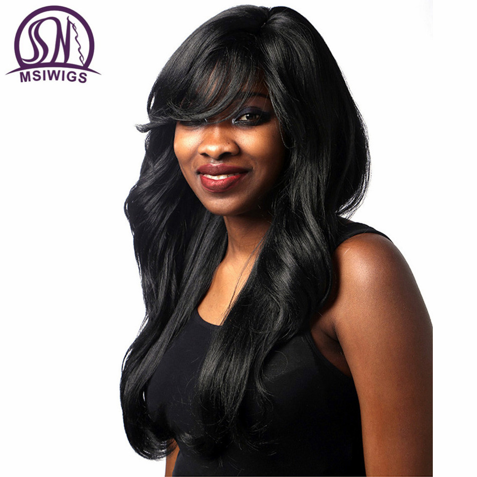MSIWIGS Synthetic Wavy Wigs with Side Bangs High Temperature Fiber Hair Black Long Wig for Black Women