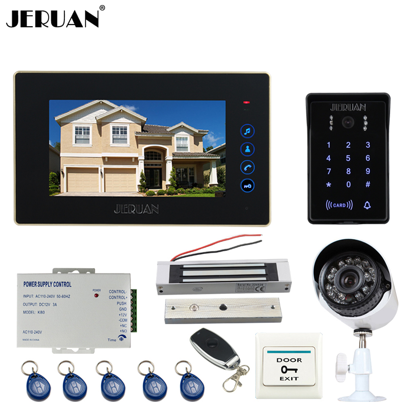 JERUAN 7`` Video Door Phone intercom System kit waterproof touch Password keyboard Access Camera + 700TVL Analog Camera 2V1