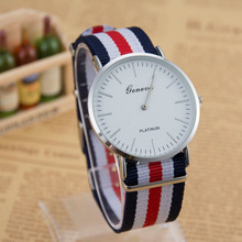 2017 Hot Sale Fashion Luxury Brand GENEVA Men Military Wrist Watch Nylon Strap Quartz Watches Women Relogio Masculino Gift Clock