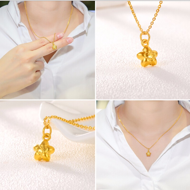New Arrival Solid 999 24K Yellow Gold Women's FU Star Pendant pure 24k yellow gold pendant 3d 999 gold fu star pendant 0 91g