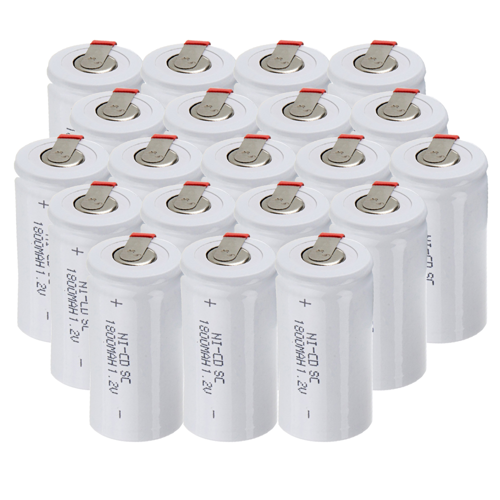 Lowest price 20 piece SC battery 1.2v batteries rechargeable 1800mAh nicd battery for power tools akkumulator