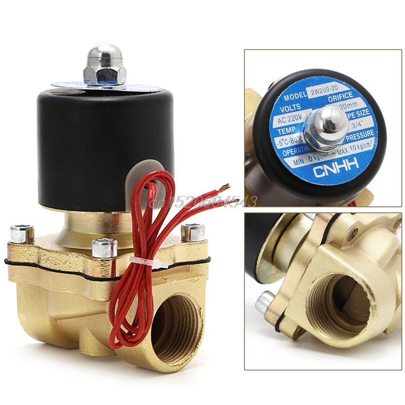 Electric Solenoid Valve 3/4 220V Pneumatic 2 Port2W-200-20 For Water Oil Air Gas R06 Drop Ship pneumatic gas water oil valve solenoid coil ac 220v connector plug 3 din43650a inner hole diameter 16mm high 43mm