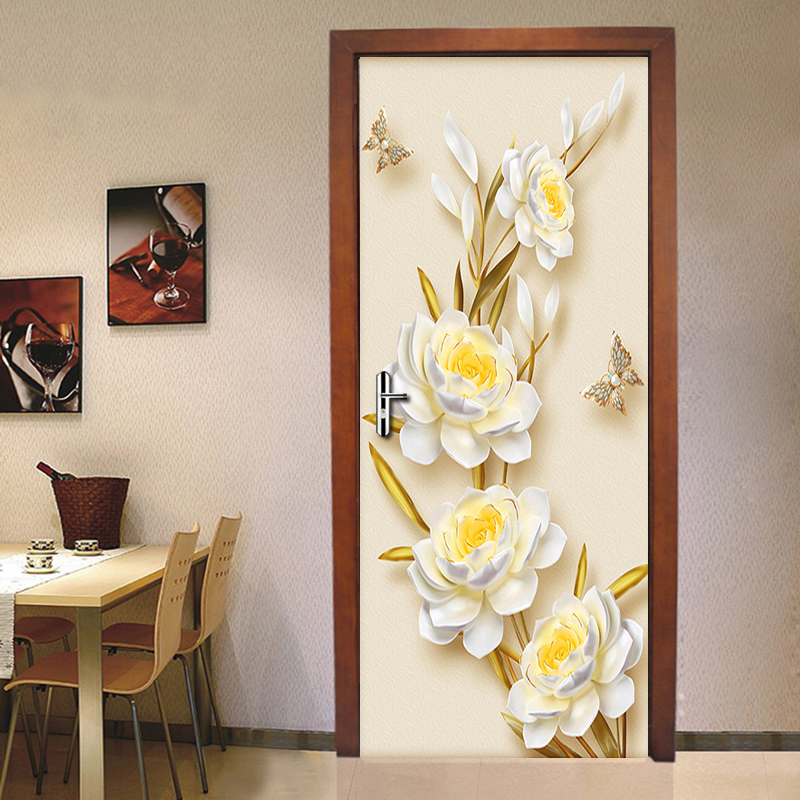Golden Flowers Butterfly Wall Stickers DIY Removable Door