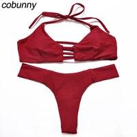 Cobunny 2017 Halter Brazilian Bikini Women Swimwear Swimsuit Bandeau Bikini Set Maillot De Bain Thong Bottom