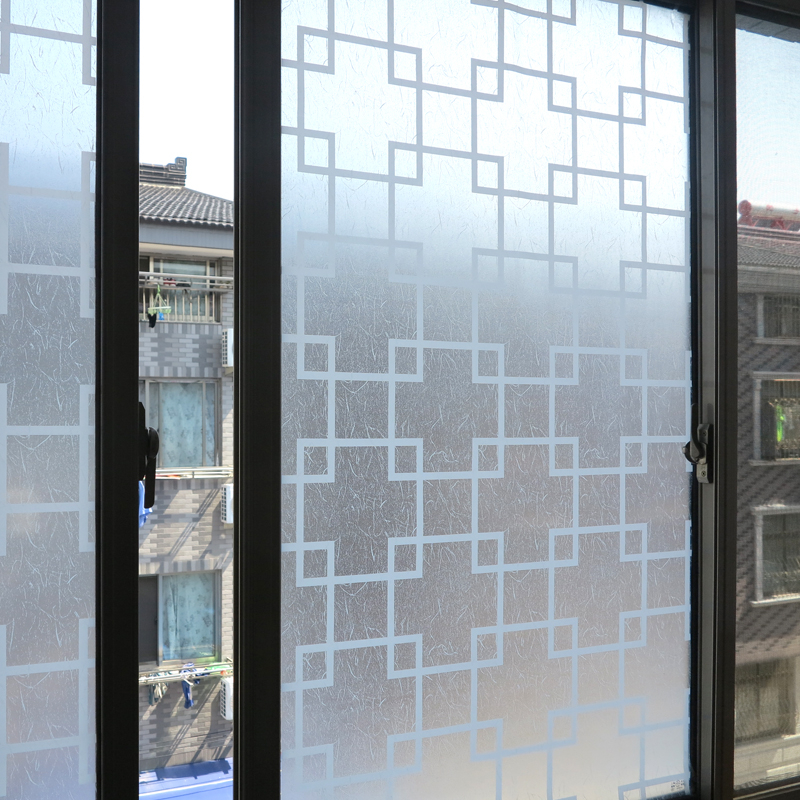 45*200cm Frosted Privacy Self Adhesive Window Film Embossed Glass Window  Sticker Home Decor White Grid Bathroom Bedroom