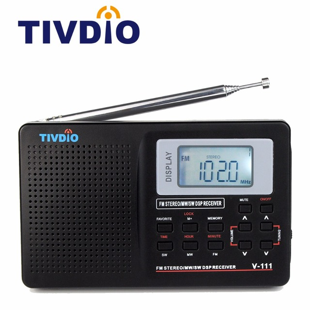 Tivdio V-111 Full Band Radio FM Stereo/MW/SW DSP World Band Receiver with Timing Alarm Clock Portable Radio Black F9201
