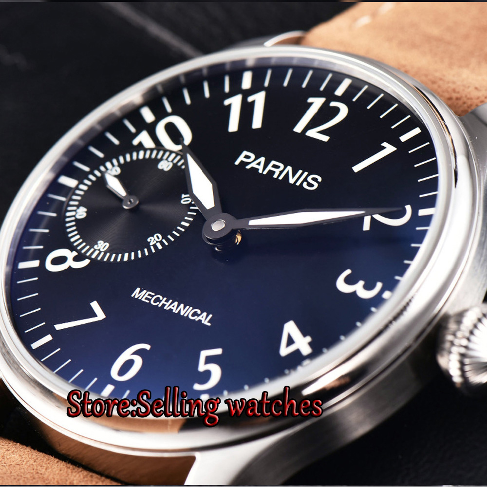 Parnis 44mm steel case Black dial Hand Winding ST3600 6497 Mechanical Mens Watches Parnis 44mm steel case Black dial Hand Winding ST3600 6497 Mechanical Mens Watches