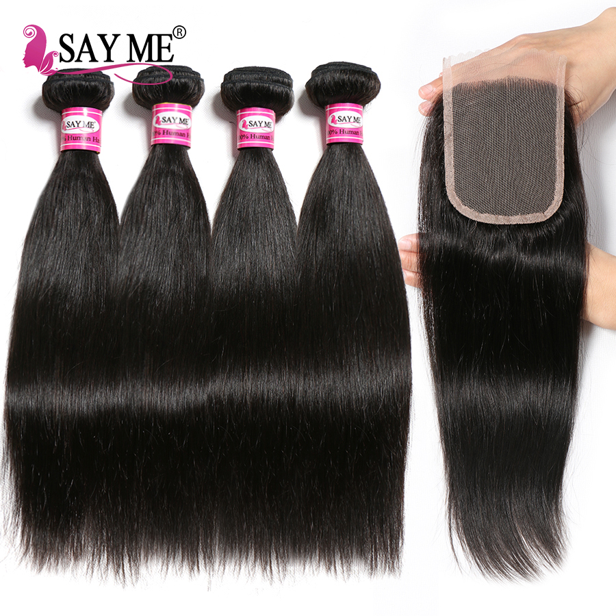 SAY ME Straight Hair 4 Bundles With Closure Human Hair Bundles With Closure Peruvian Hair Bundles