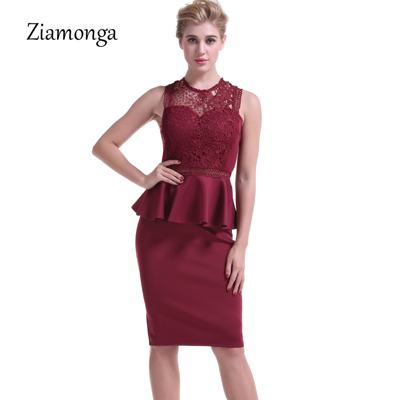 76aa29a31f47b Ziamonga Black Red Sexy Club Patchwork Lace Dress Elegant Party Evening Bodycon  Summer Dress Knee Length Peplum Vestidos Verano-in Dresses from Women s ...
