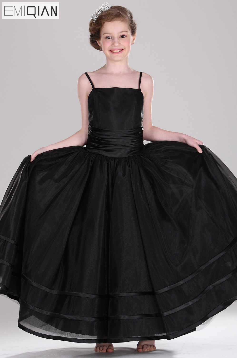 Free shipping New Arrival Spaghetti Straps A-Line   Flowers   Organza   Flower     Girl     Dress