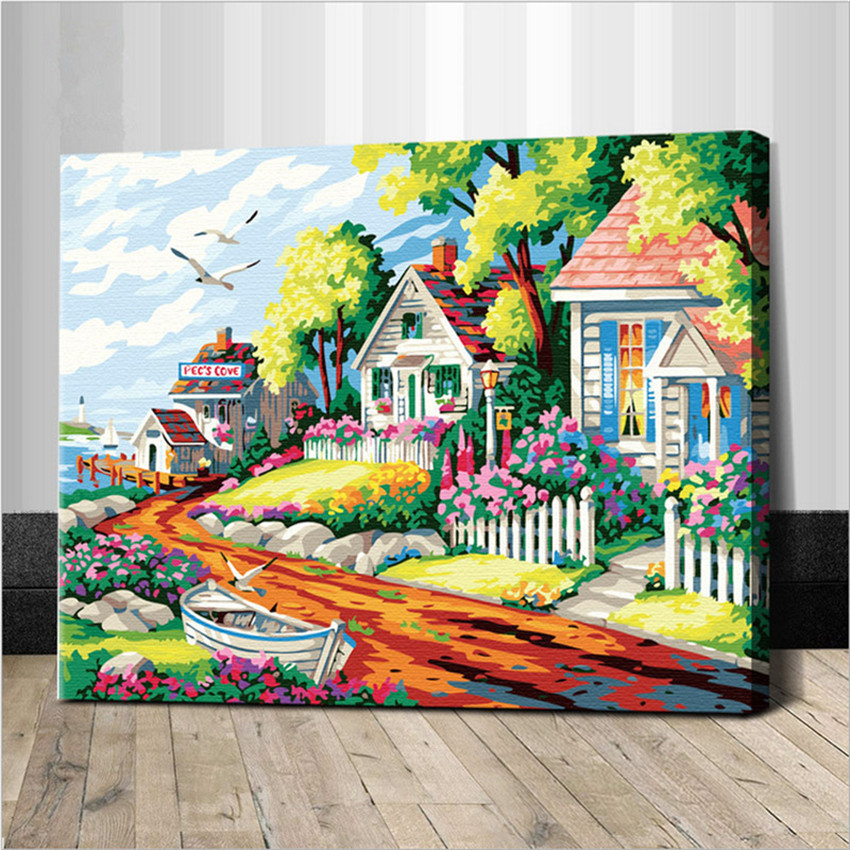 Seaside Picture Painting BY Numbers On Wall Acrylic Cartoon Villa Coloring By Numbers Christmas Gift DIY Canvas Handpainted Arts
