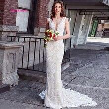 LEIYINXIANG New Arrival Popular Bride Dress Wedding Vestido De Noiva Sereia Robe Sexy Mermaid Appliques Backless V-Neck