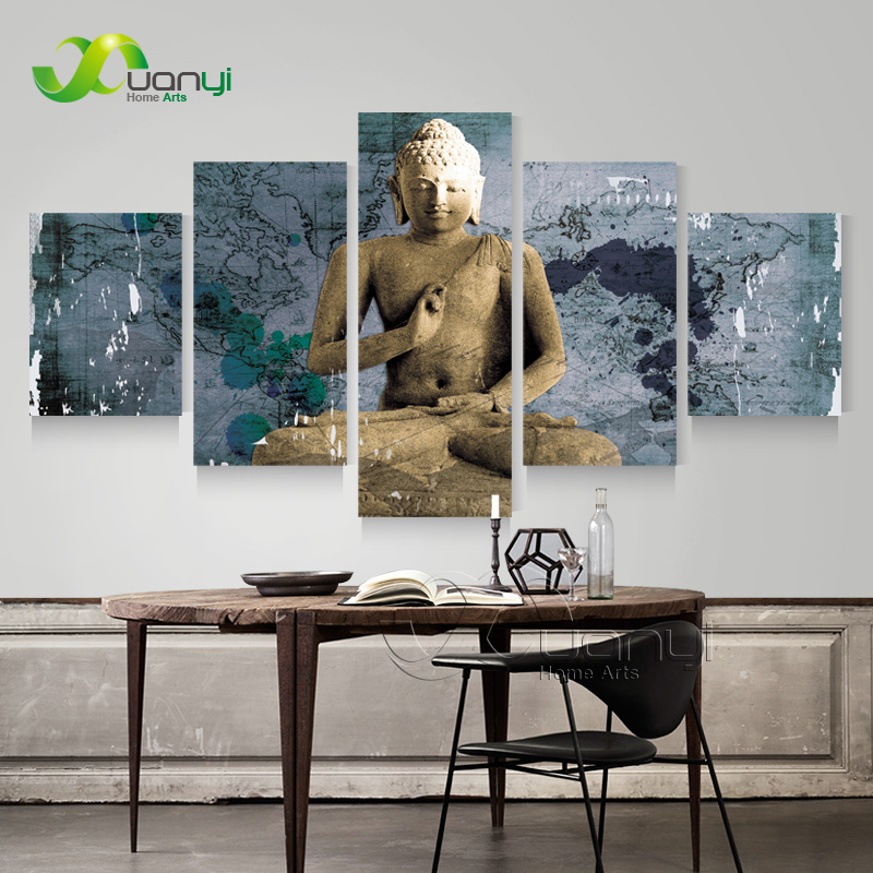 5 Panel Buddha Painting Modern Home Decoration Buddha Canvas Art Wall Picture Vintage Home Decor Canvas