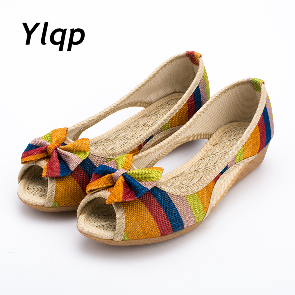 2018 New High Quality Adult Women Sandals Casual Canvas Cloth Lady Toe Slip on Women Shoes High Heel 3 Colors Optional