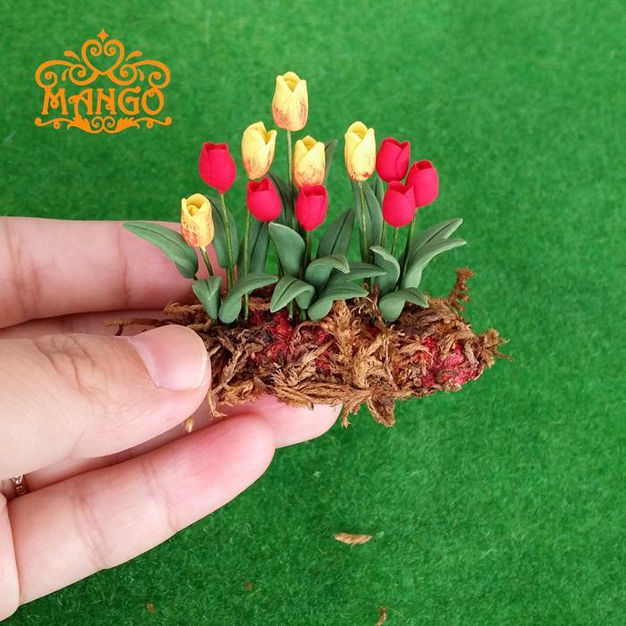 1:12 Shtëpitë e bimëve miniaturë të argjilës së kukullave Tulipanat e verdha të kuqe të gatshme Kopshti-Shtretër lule e verdhë e kuqe e gatshme
