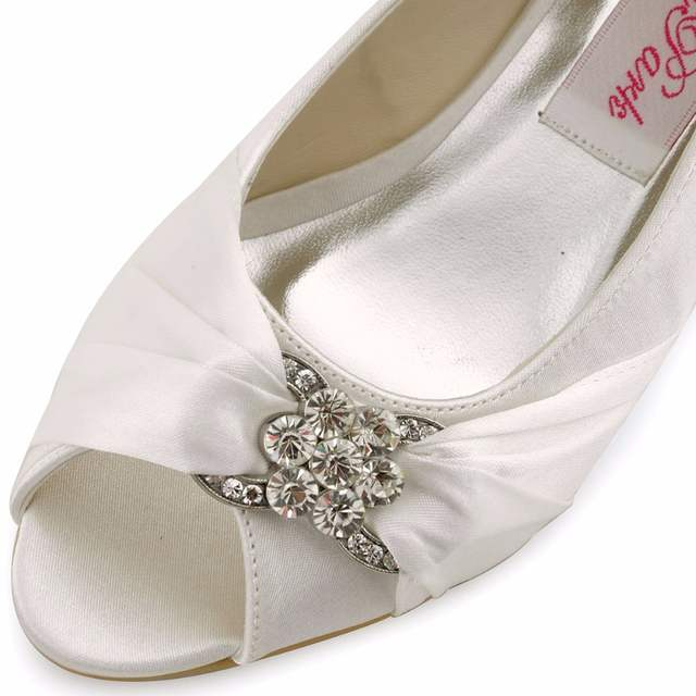 Woman Wedding Wedges WP1403 White Ivory Silver Peep Toe Rhinestone Med  Heels Satin Ladies Bride Bridal 69fdc4601dad