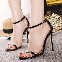 2018 Women Sexy Sandals Party High Heel 11 Cm Solid Fashion Pumps Thin Heels Simple Beige