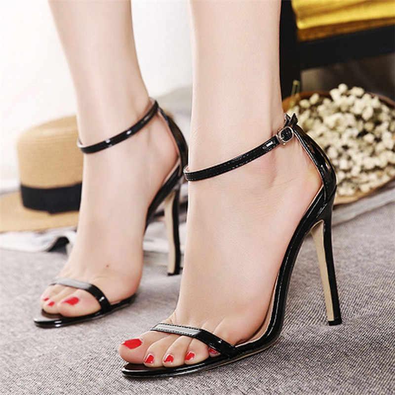 2018 mulheres sexy sandálias de festa de salto alto 11 cm sólida moda bombas saltos finos simples bege preto casamento sapatos de senhora sapatos de verão