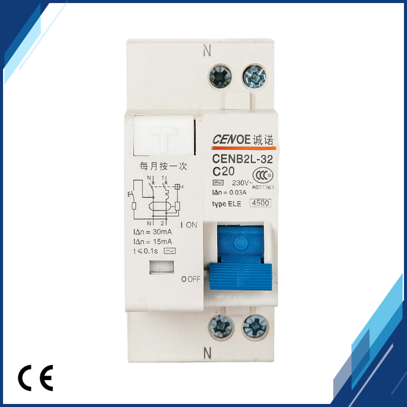 цена на 2018 new Prevent the misoperation tripping earth leakage Circuit breaker DPNL 20A 230V 50HZ/60HZ 1P+N with leakage protection