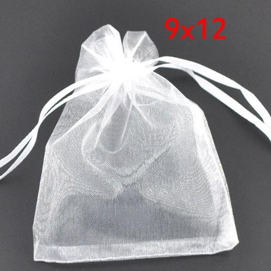 Wholesale 100 White Drawable Organza Wedding Gift Bags&Pouches 12x9cm(W00452 X 1)