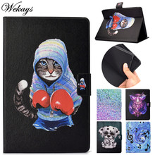 Wekays For Samsung Galaxy Tab A6 A 2016 10.1 T585 T580 T580N T585N Cartoon Cat Leather Cover Case For Samsung Tab A 6 A6 SM-T580 цена и фото