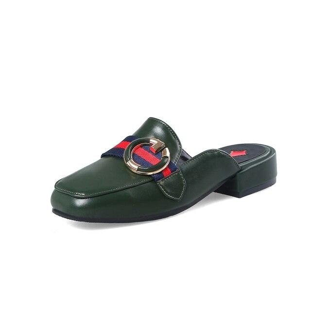 a7651d146b9b Maguidern Brand Summer Retro Slippers Women Applique Mules Horsebit Loafers  Slip On Flat Sandals Women Shoes