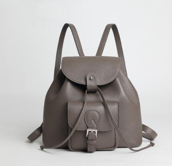 Genuine leather women large backpack shool bag