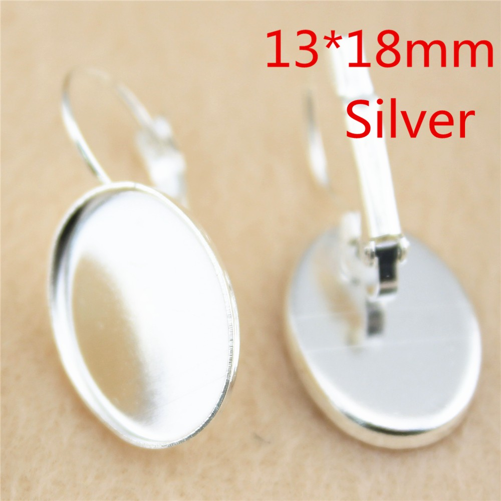 Wysiwyg 6pcs 13*18mm High Quality Silver Planted Copper Material French  Lever Back Earrings Blank