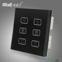 Double Fan Switch 110V 250V Wallpad Luxury Black Glass 6 Buttons Touch Control 2 Fan Speed Dimmer Regulator Control Wall Switch