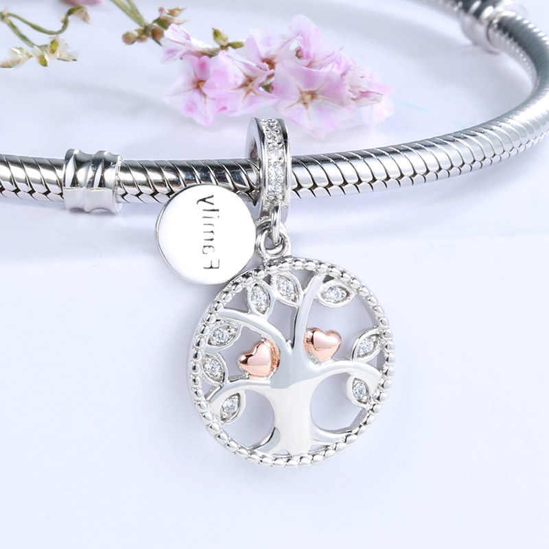 SG 925 aquecimento da família da árvore da vida encantos de prata beads fit pandora autêntica pulseiras jóias fazendo diy presentes dia dos namorados