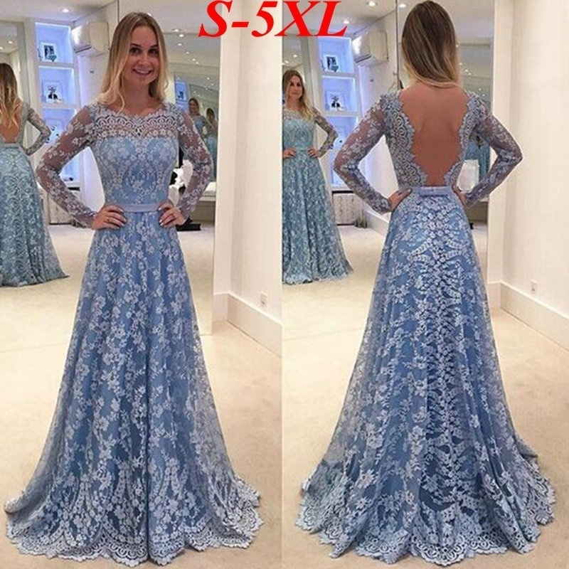 Evening Dresses Long 2018 New Fashion Women's Long Sleeve Backless Blue Full Lace A-line Cheap Sexy Formal Party Gowns