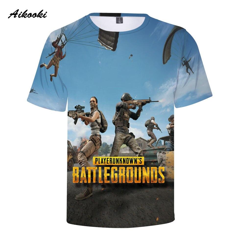 Aikooki PUBG 3D T-shirt Men/Women Tshirt 3D Print BATTLEGROUN Gun And Fire Tees Tops Boys/Girls 3D T shirt Cotton Tops Clothes
