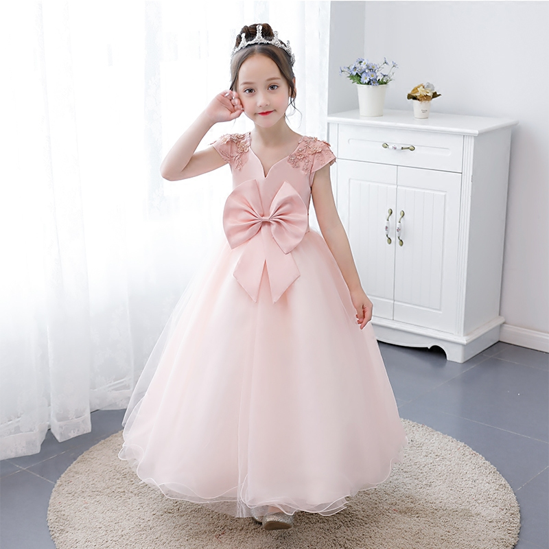 2018 New Elegant Toddler Baby Kids Girls Wedding Party Prom Princess Pink Dress Birthday Kids Teen Tutu Sleeveless Long Dresses toddler kids baby girls sleeveless orange cute cartoon back zipper fox fancy dress princess party tulle tutu dresses