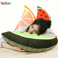 80 45cm Cute big size fruit pillow Cartoon Soft Cushion Watermelon Orange Kiwi plush toys at