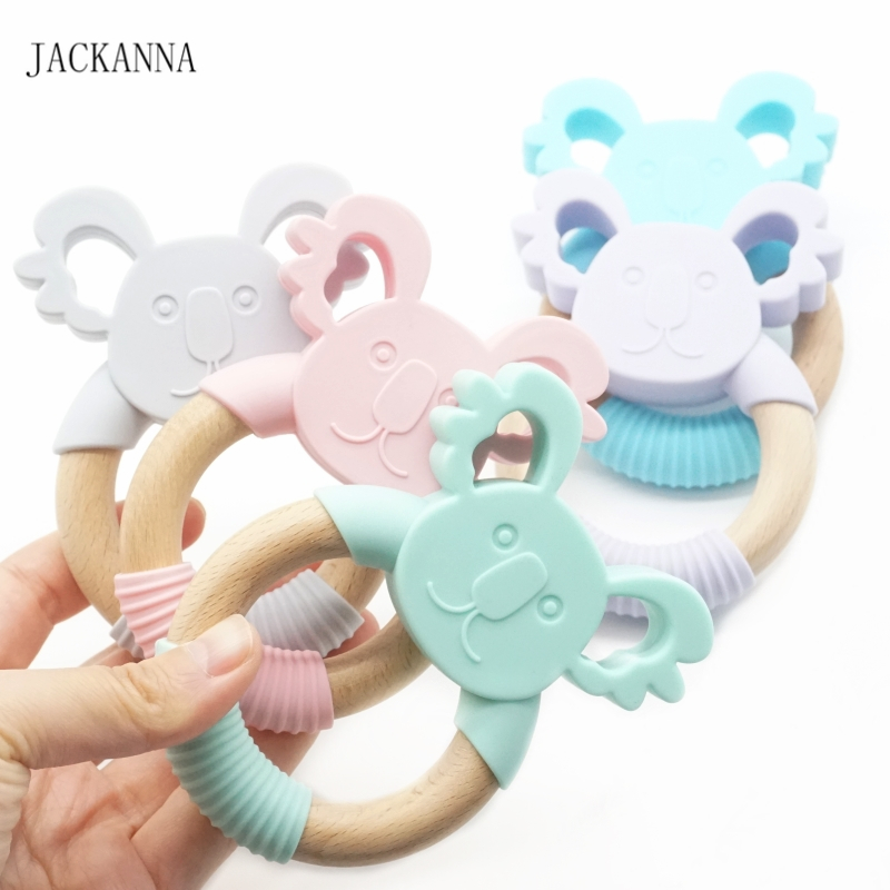 10PCS Koala Silicone Teether Teething Ring Wooden Baby Chewable Rattle Toy Tooth Nursing Baby Pendant Sensory