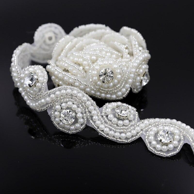 1 Yard Glittering Silver Clear Pearls Rhinestone Trimming Crystal Sew On  Bridal Trim Applique For Bridal 4805f9832a6c