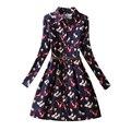 Xeamai 2017 lazer vestidos de verão outono mulheres da verificação da manta do vintage da cópia da flor primavera camisa casual dress trabalho vestidos mini partido