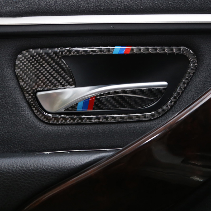 For BMW 3 4 Series 3GT F30 F31 F32 F34 Carbon Fiber Car Interior Door Handle Cover Trim Door Bowl Stickers Car Styling AccessorY
