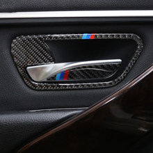 For BMW 3 4 Series 3GT F30 F31 F32 F34 Carbon Fiber Car Interior Door Handle Cover Trim Door Bowl Stickers Car Styling accessorY(China)