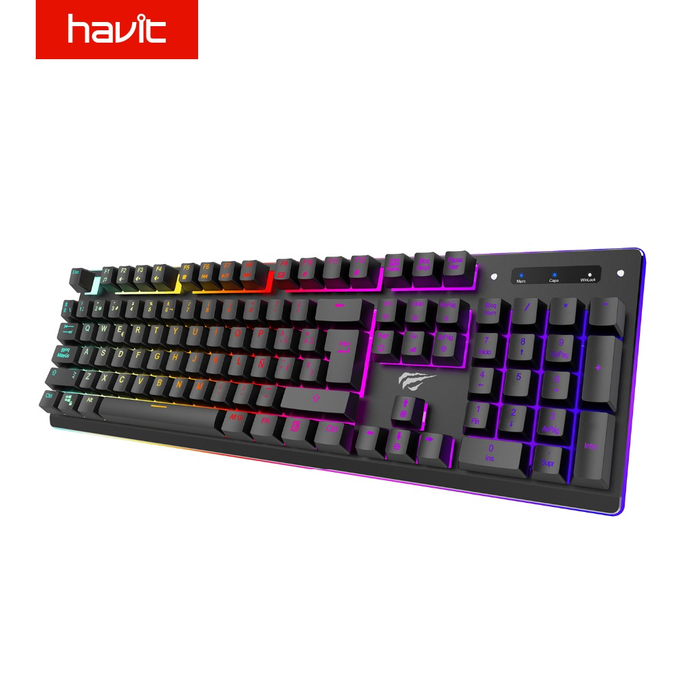 HAVIT Gaming Keyboard RGB Backlit Spanish Keyboard USB Wired Anti Ghosting Keys Keyboard ...