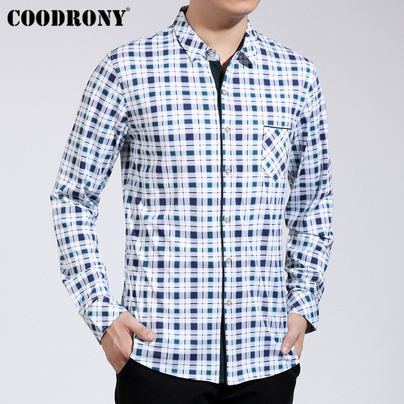 Coodrony Brand Men Shirt Autumn Streetwear Classic Plaid Long Sleeve Cotton Shirt Men Plus Size Casual Shirts With Pocket 96007