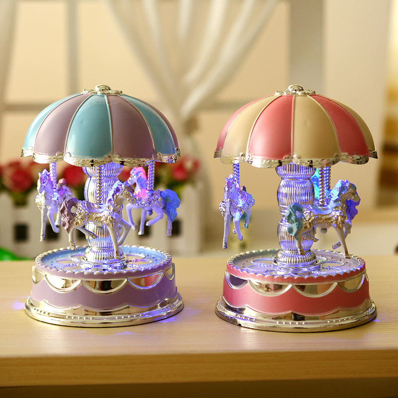 Windup Merry Light Horse Carousel Movement Music Box Kid Toy Christmas Electrical LOVE Gift Home Decoration Accessory Musical