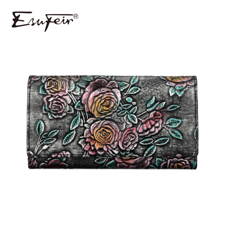 ESUFEIR Genuine Leather Women Wallet Wipe Color Standard Wallets Vintage Long Purse Card Holder Fashion Clutch carteira feminina