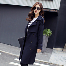 England Style 2017 Spring Autumn Women Trench Coat Casual Turn-down Collar Long Sleeve Double Breasted Windbreaker Coat недорого